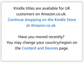 "Screenshot showing message that UK users get when shopping for Kindle books on Amazon.com: ""Kindle titles are available for UK customers on Amazon.co.uk."""